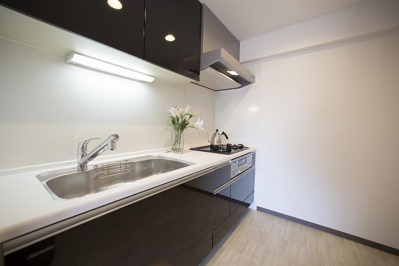 開放感のある新規設置のキッチン