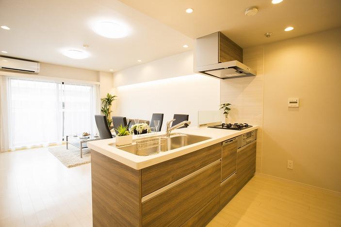 ワイドシンクで浄水器・食洗器付のオープンキッチン。