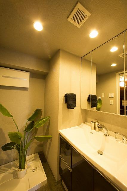 暮らしを快適に変えるシャワー付洗面台。3面鏡でセットもし易く