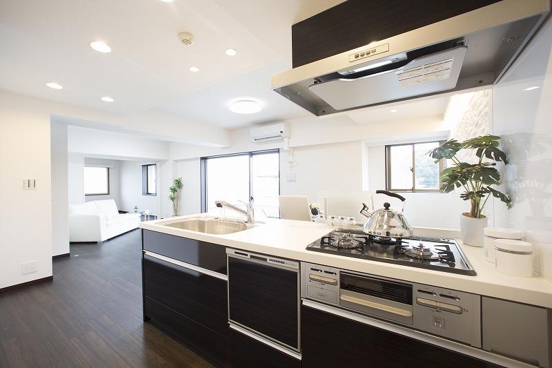 リクシル製キッチンのカウンタートップには、優雅さと耐久性を兼ね備えた人造大理石天板を採用しました