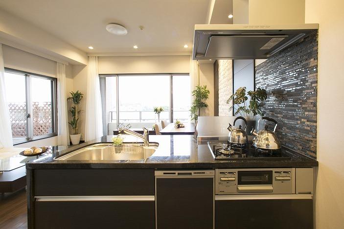 御影石キッチン、環境にやさしい食洗機付